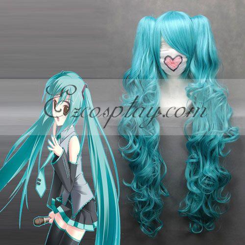 Costumi moda Ezcosplay Vocaloid Miku Cosplay Blu onda parrucca-045A