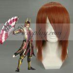 Cosplay Sanguko Basara Ishida Mitsunari Red Brown Wig-060A