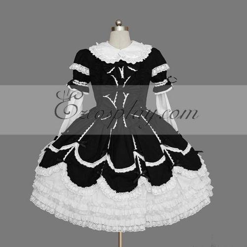 Costumi moda Ezcosplay Nero-Bianco Gothic Lolita Dress -LTFS0113