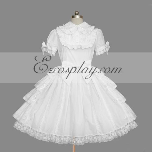 Costumi Fashion Ezcosplay Bianco Gothic Lolita Dress -LTFS0115