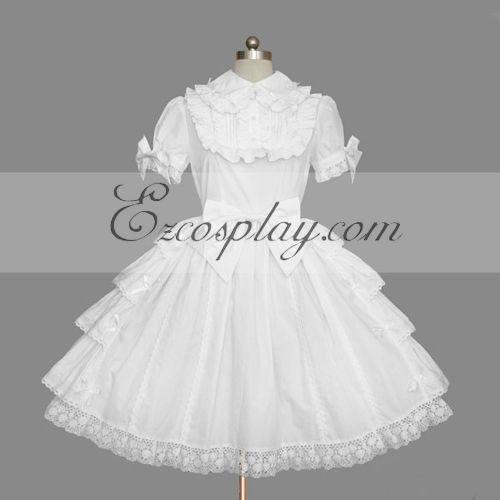 Costumi Fashion Ezcosplay Bianco Gothic Lolita Dress -LTFS0115