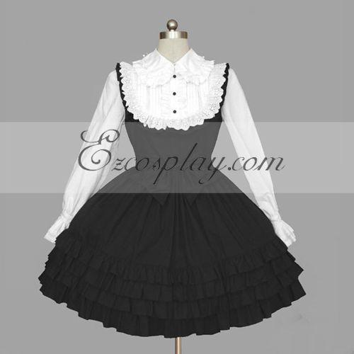 Costumi moda Ezcosplay Nero-Bianco Gothic Lolita Dress -LTFS0117