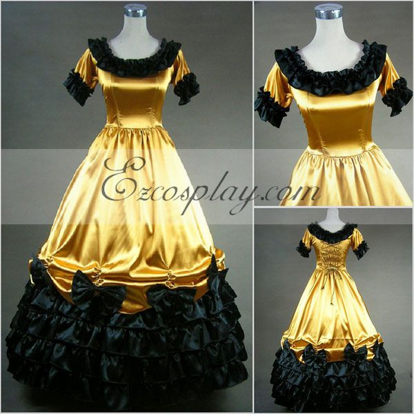 Costumi moda Ezcosplay maniche corte gialla Gothic Lolita Dress-LTFS0011