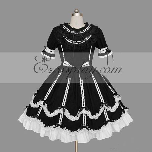 Costumi moda Ezcosplay Nero-Bianco Gothic Lolita Dress -LTFS0121