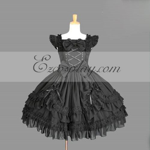 Costumi Fashion Ezcosplay nero Gothic Lolita Dress -LTFS0129