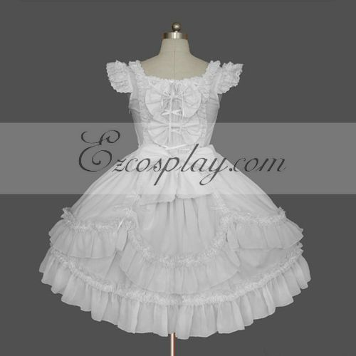 Costumi Fashion Ezcosplay Bianco Gothic Lolita Dress -LTFS0130