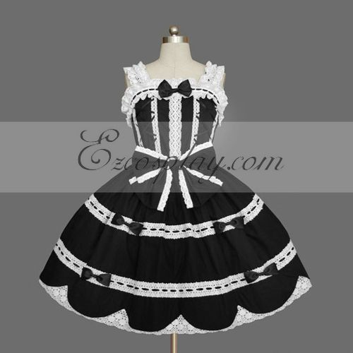 Costumi Fashion Ezcosplay nero Gothic Lolita Dress -LTFS0132