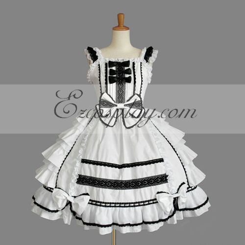 Costumi Fashion Ezcosplay Bianco Gothic Lolita Dress -LTFS0141