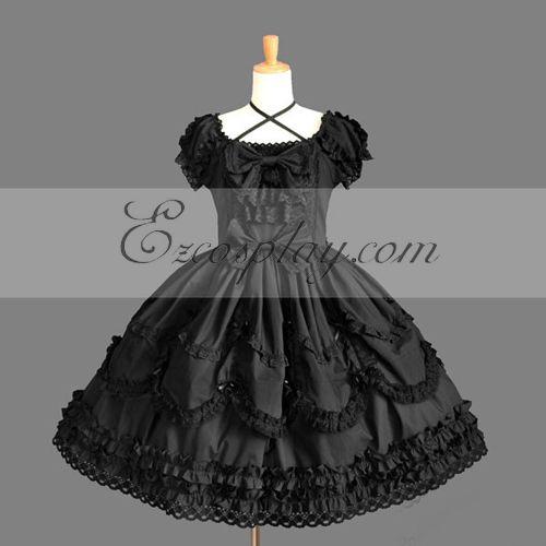 Costumi Fashion Ezcosplay nero Gothic Lolita Dress -LTFS0144