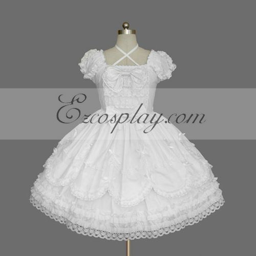 Costumi Fashion Ezcosplay Bianco Gothic Lolita Dress -LTFS0145