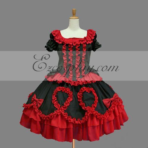 Costumi Fashion Ezcosplay Red Gothic Lolita Dress -LTFS0148
