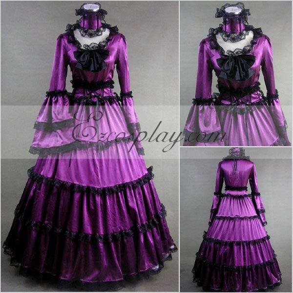 Costumi moda Ezcosplay viola a maniche lunghe Gothic Lolita costume cosplay Dress