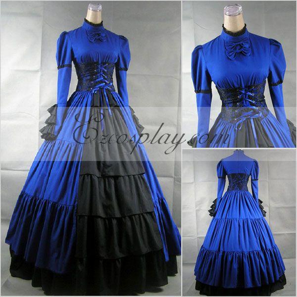 Costumi moda Ezcosplay blu a maniche lunghe Gothic Lolita Dress-LTFS0019