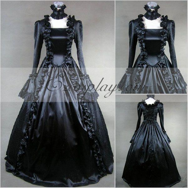 Costumi moda Ezcosplay manica lunga nero Gothic Lolita Dress-LTFS0020