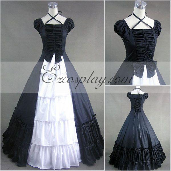 Costumi moda Ezcosplay zaffiro blu senza maniche Gothic Lolita Dress-LTFS0037