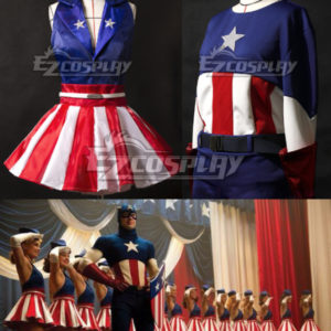 Costumi moda Ezcosplay Capitan America Cheerleading USO Maschio costume cosplay Femmina