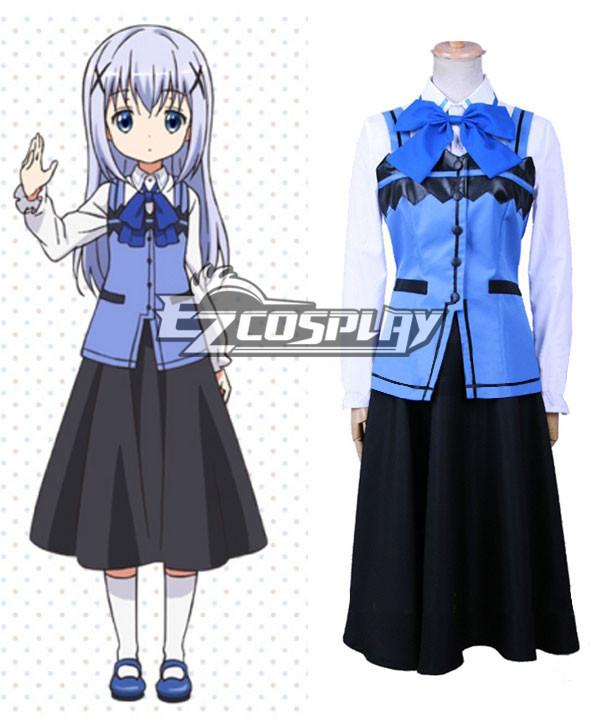 Costumi Fashion Ezcosplay Gochuumon wa Usagi Desu ka? l'Ordine è un coniglio? Chino costume cosplay Kafuu