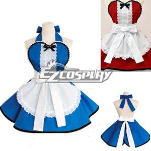 Costumi moda Ezcosplay Alice Merletto domestica francese bianco e blu domestica Grembiule Cosplay