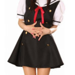 Nero Dress maniche corte Sailorl uniforme del costume Cosplay