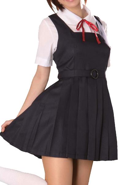 Costumi moda Ezcosplay costume cosplay uniforme vestito nero Maniche corte Scuola