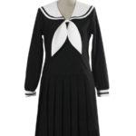 costume cosplay uniforme maniche Scuola abito lungo nero