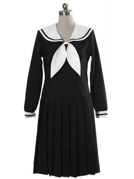Costumi moda Ezcosplay costume cosplay uniforme maniche Scuola abito lungo nero
