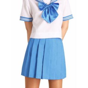 Costumi moda Ezcosplay costume cosplay uniforme blu bowknot Maniche corte Scuola
