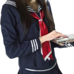 costume cosplay blu a maniche lunghe Scuola Sailor Uniform