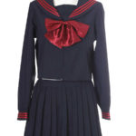 costume cosplay uniforme Deep Blue Red Bowknot maniche lunghe Scuola