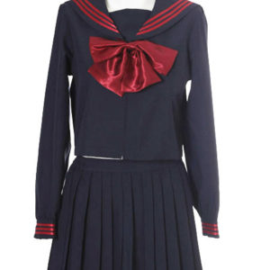 Costumi moda Ezcosplay costume cosplay uniforme Deep Blue Red Bowknot maniche lunghe Scuola