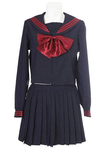Costumi moda Ezcosplay costume cosplay uniforme Deep Blue Red Bowknot maniche lunghe Scuola