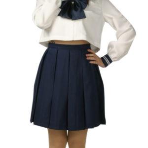 Costumi moda Ezcosplay VITA ALTA Uniform maniche corte Gonna blu Scuola Cosplay