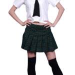 VITA ALTA Uniform maniche corte Griglia Gonna Scuola Cosplay