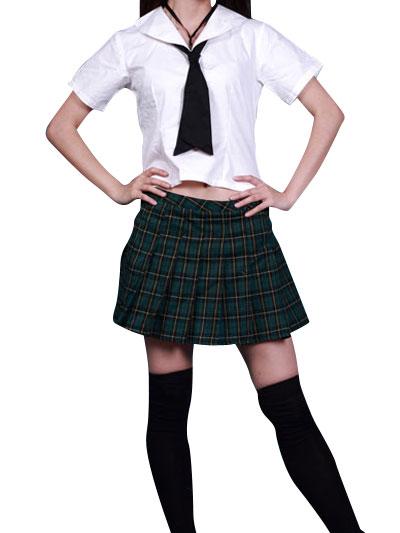Costumi moda Ezcosplay VITA ALTA Uniform maniche corte Griglia Gonna Scuola Cosplay