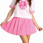 costume cosplay uniforme di colore rosa bowknot maniche corte Scuola