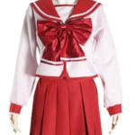 costume cosplay uniforme rossa di Bowknot maniche lunghe Scuola