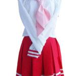 costume cosplay gonna rossa a maniche lunghe Sailor Uniform