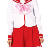 costume cosplay uniforme gonna rossa a maniche lunghe Scuola