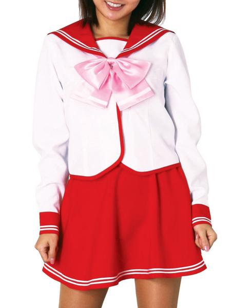 Costumi moda Ezcosplay costume cosplay uniforme gonna rossa a maniche lunghe Scuola