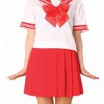costume cosplay gonna rossa manica corta Sailor Uniform