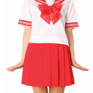 Costumi moda Ezcosplay costume cosplay gonna rossa manica corta Sailor Uniform