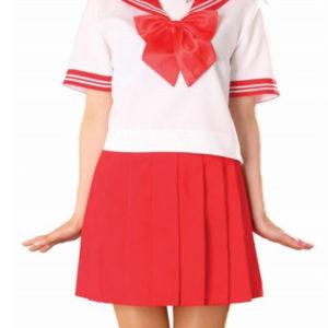 Costumi moda Ezcosplay costume cosplay gonna rossa manica corta Sailor Uniform