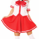 costume cosplay uniforme gonna rossa maniche corte Scuola