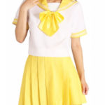 costume cosplay maniche corte gialla Gonna Sailor Uniform