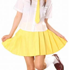 Costumi moda Ezcosplay costume cosplay Uniform maniche corte gialla Gonna Scuola