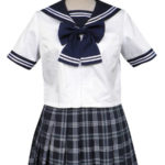 Royal Blue maniche corte griglia Gonna Sailor Uniform Cosplay Costume