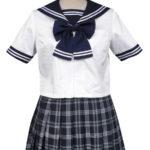 Royal Blue maniche corte griglia Gonna Sailor Uniform Cosplay Costume