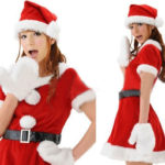 Dress peluche di Natale rosso Cospaly Costume