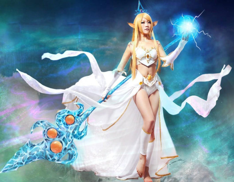 Costumi moda Ezcosplay League of Legends Janna Cosplay set completo