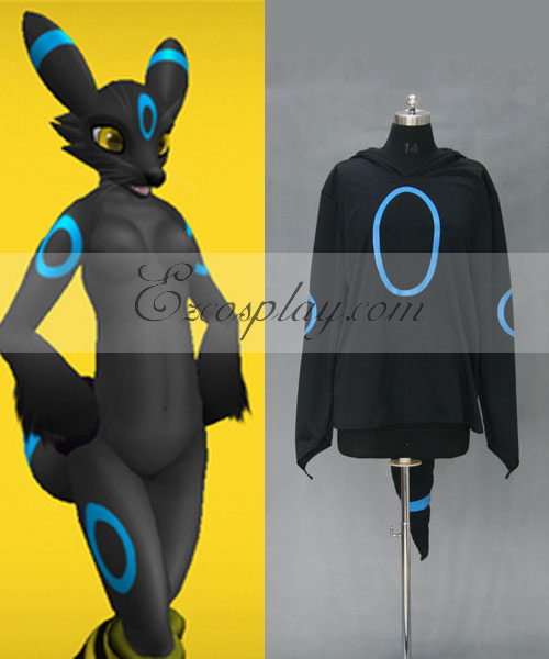 Costumi moda Ezcosplay Pokemon mostro tascabile Umbreon con cappuccio costume cosplay Jacket